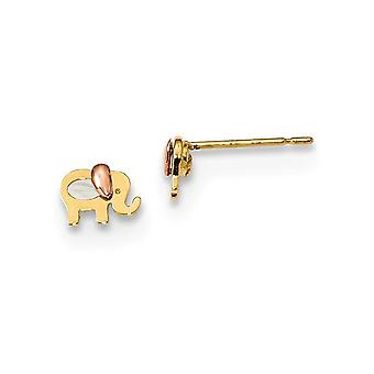 14k Madi K Two tone for boys or girls Simulated Mother of Pearl Elephant Post Earrings Measures 4.8x6mm Wi