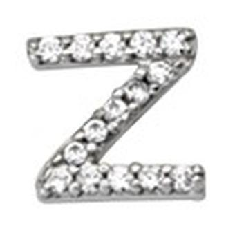 925 Sterling Silver Rhodium Plaqué Single CZ Cubic Zirconia Simulated Diamond Letter Name Personalized Monogram Initial