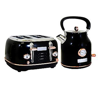 Charles Bentley 1,7L-ketel en 4-snijroosterset Zwart en roségouden snel koken 360 Draaibare basis 6 Instelbare waterfilter