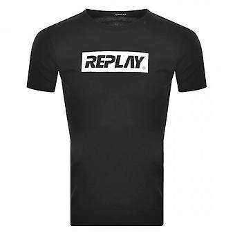 Reproduzir logotipo imprimir camiseta preta M3017