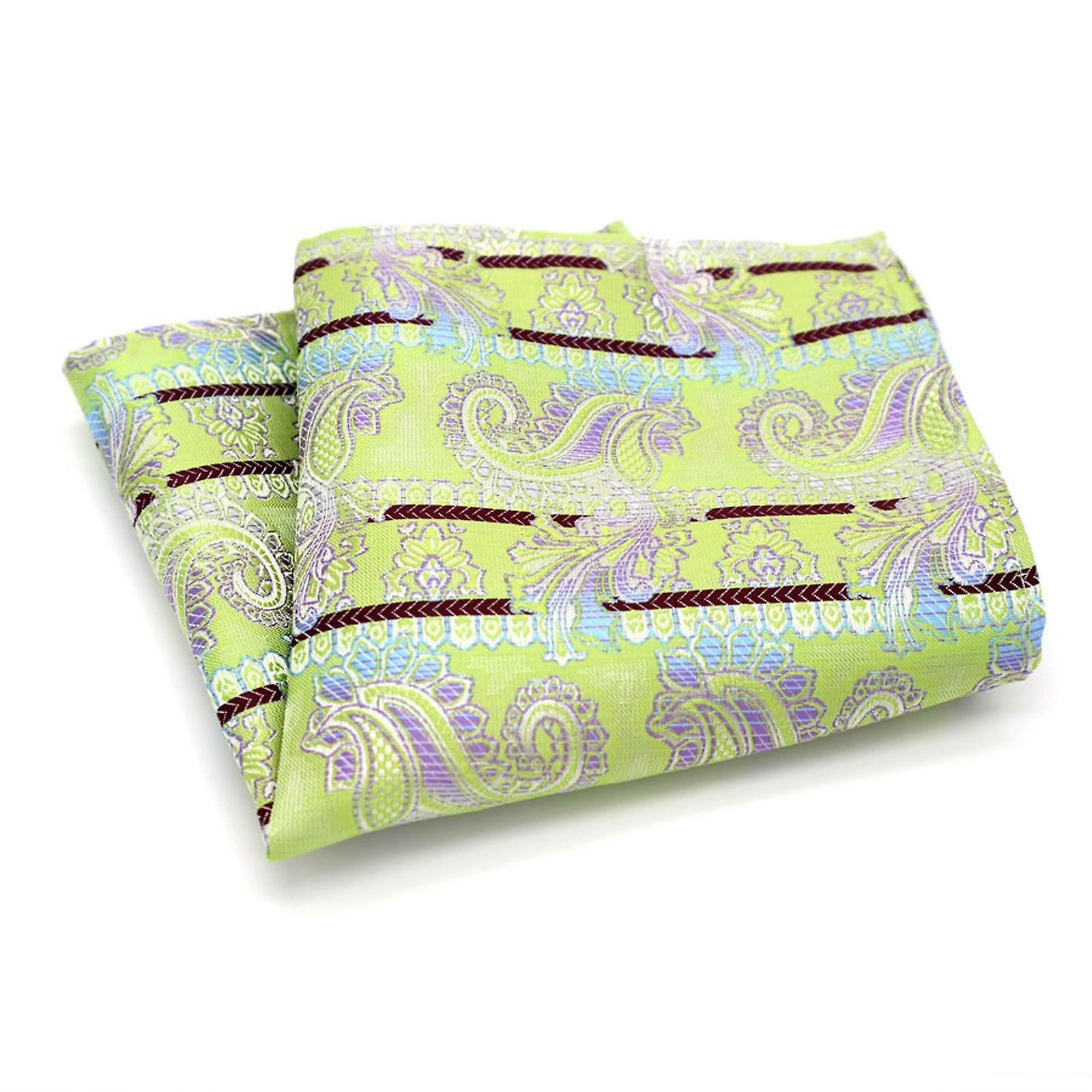 Mint green & purple designer paisley pocket square