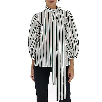 Red Valentino Tr3aaa904rg635 Women's White/green Cotton Blouse