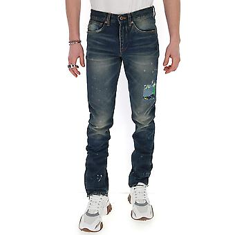 Off-white Omya063r203860288410 Men's Blue Cotton Jeans