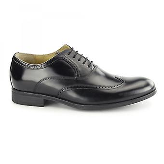 Steptronic Burgos Mens Waxed Leather Oxford Brogues Black