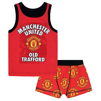 Manchester United FC Official Football Gift Boys Boxer Shorts & Vest Set