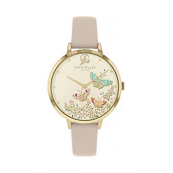 Sara Miller SA2082 Women's Gold Tone Butterflies Wristwatch