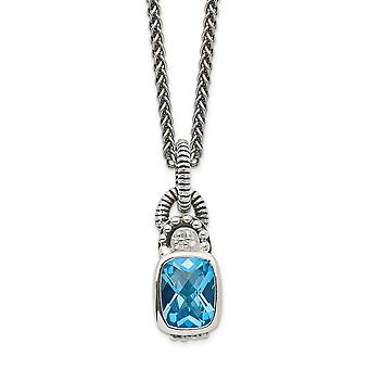 925 Sterling Silver Bezel Polished Lobster Claw Closure 1.90Sky Blue Topaz and .015ct. Diamond 18inch Necklace Jewelry G