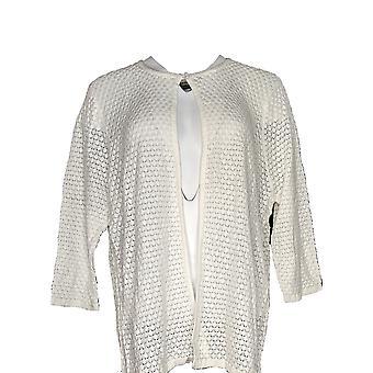Magellan Women's Top 3/4 Sleeves Cotton Button Closure White