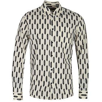 Nudie Jeans Co Chuck Print Ecru Long Sleeve Shirt