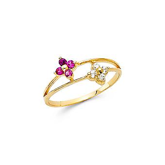 14k Yellow Gold Boys and Girls CZ Cubic Zirconia Simulated Diamond Ring Taille 3 - .8 Grammes