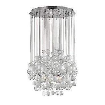 14 Light Blown Glass Bubbles Cluster Pendentif Blanc