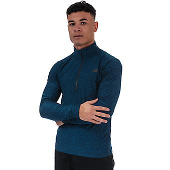Men's New Balance Core Space Dye Quarter Zip Top en azul