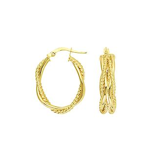 14k Yellow Gold High Polish and Textured Tube Treased Oval Hoop Boucles d'oreilles Bijoux Cadeaux pour femmes
