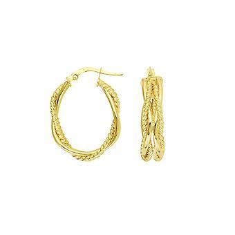 14k Gul Guld Hög Polska och Texturerat Tube Flätad Oval Hoop Örhängen Smycken Gåvor för kvinnor