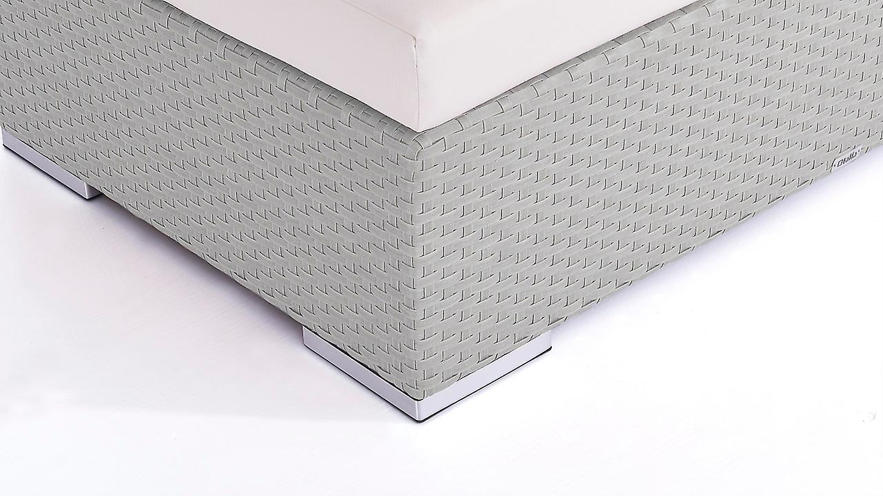 Polyrattan Cube Hocker 125 cm - grau satiniert