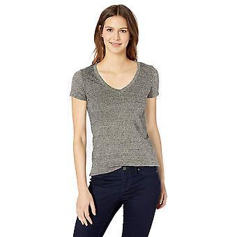 Tägliche Ritual Frauen's gewaschen Baumwolle Kurzarm tiefe V-Ausschnitt T-Shirt, weiß, S...