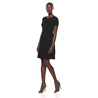 Brand - Lark & Ro Women's Half Sleeve Paneled Fit and Flare Dress, Black, 6
