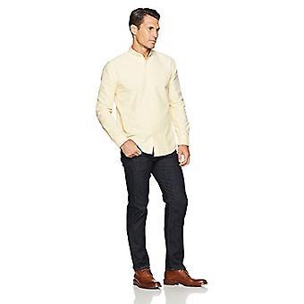 Essentials Men's Regular-Fit Long-Sleeve Solid Oxford Shirt, Galben, X...