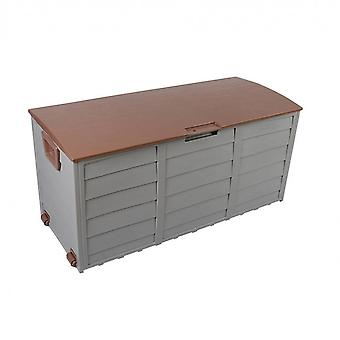 Rebecca Furniture Outdoor Trunk Brown Garden 290 Lt Plastic 2 Wielen 52x112x49