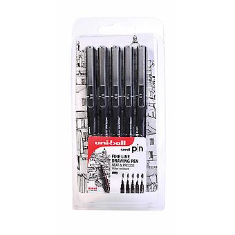 Uni-Ball Pin Fine Line Drawing Set of 5 Black (0.6 - 1.2mm)