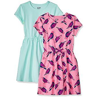 Spotted Zebra Little Girls' 2-Pack Knit Short-Sleeve Cinch Waist Dresses, Mul...