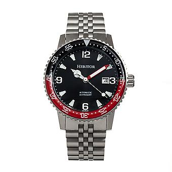 Heritor Automatic Dominic Bracelet Watch w/Date - Black&Red/Black