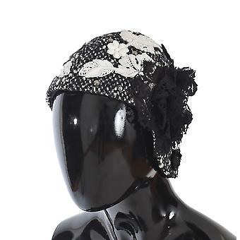 Dolce & Gabbana Gray Wool Floral Lace Studded Cloche Hat -- HAT2495024