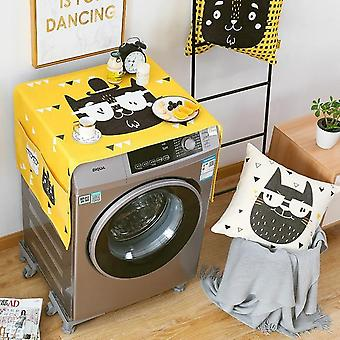 Geometric Cotton Linen Washing Machine Refrigerator Organizer Fridge Dust Cover Home Decor