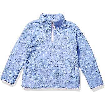 Essentials Girl's Polar Fleece Lined Sherpa Quarter-Zip Jacket, Cool P...