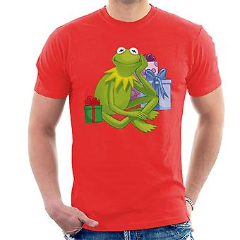 Disney Christmas Muppets Kermit The Frog With Presents Men's T-Shirt