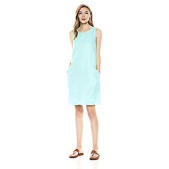 28 Palms Women's 100% Linen Sleeveless Shift Dress, Aqua, X-Large