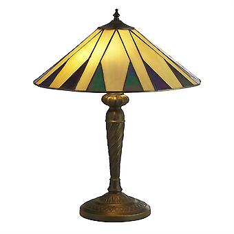 Searchlight Charleston - 2 Light Tiffany Table Lamp Antique Bronze, Black, Yellow, Multi, E27