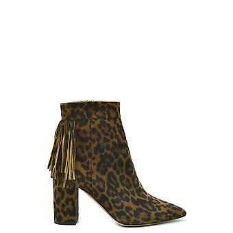 Aquazzura Ezbc440002 Kvinnor's Leopard Mocka Ankelstövlar