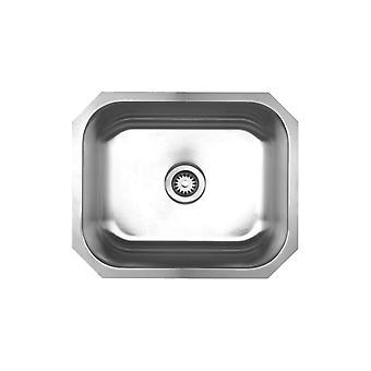 Collezione Noah Lavandino sottosoglie a ciotola singola spazzolato in acciaio inossidabile - acciaio inossidabile spazzolato, calibro 20, acciaio inossidabile serie 304