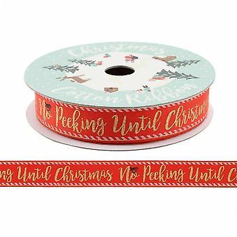 Ingen titte før jul rød Cotton båndet 5m Xmas Craft