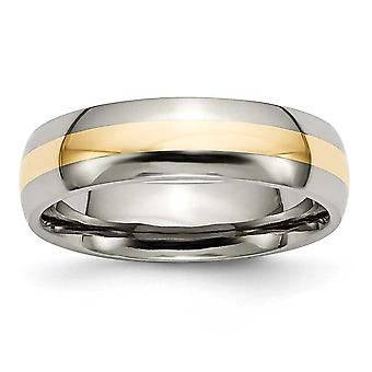 Titanium Engravable 14k Gold Inlay 6mm Polished Band Ring Jewelry Gifts for Women - Ring Size: 6 to 13