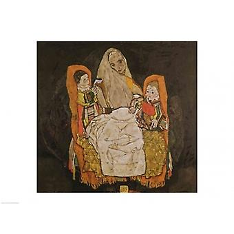 Mother with Two Children Poster Print by Egon Schiele