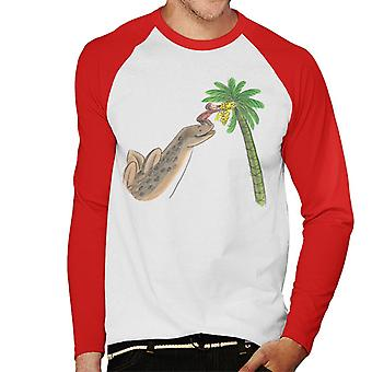 Utelias George Dinosaur Palm Tree Men's Baseball Pitkähihainen T-paita