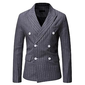 New Men's Double Row Two Button Striped Casual Suit Slim Tuxedo Dress