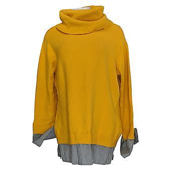 Du Jour Women's Sweater Turtle Neck Gestreepte Shirttail Yellow A380541