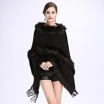 Mode Frauen Frühling Faux Pelz Fledermaus, Ärmel Ponchos und Capes, rosa Rundhals