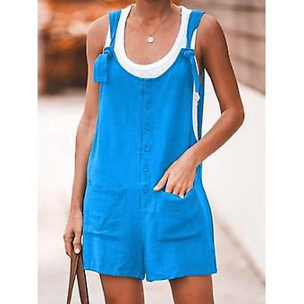 Donne Rompers Button Pocket Ladies Playsuits Sexy Short Jumpsuits