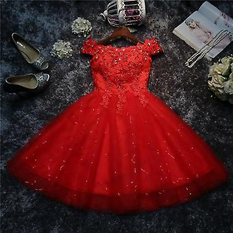 Short Spring-summer Bride Marriage Gauze Pary Lace Up Sexy Dress