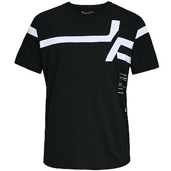 Under Armour Mens Striped Short Sleeve T-Shirt Graphic Black Top 1318559 001