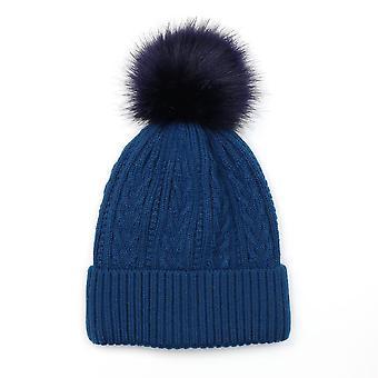 POM Cable Knit Faux Fur Bobble Hat | Deep Teal
