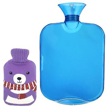 Classic Rubber Transparent Hot Water Bottle 2 Liters Large Capacity, With Cartoon Knitted Cover