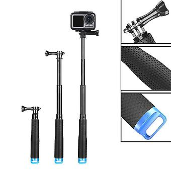Homeet 49cm selfie stick telescopic for action camera, waterproof hand grip rubberized aluminum pole