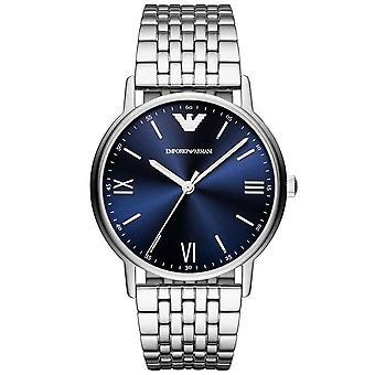 Armani Ar80010 marineblå og sølv rustfritt stål menn's klokke
