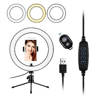 10inch LED Ring Light Photography Fill-in Lamp 3 Lighting Modes Dimmable USB Powered