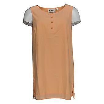Linea Por Louis Dell'Olio Women's Top Henley Swing Sleeveless Orange A306414